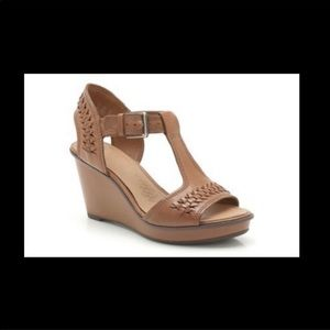 Clark's Leather Braided Strap Wedge Sandal